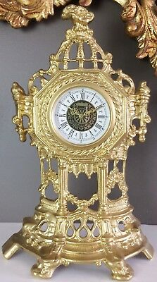Vintage Original Brass GERMAN Mantel Clock  #1285