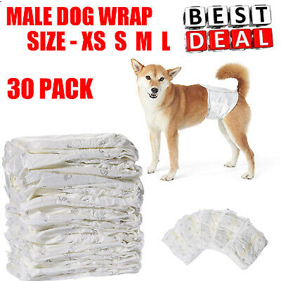 30 PACK Waist Disposable Dog Diapers Male Wraps Belly Bands - Small Medium Large