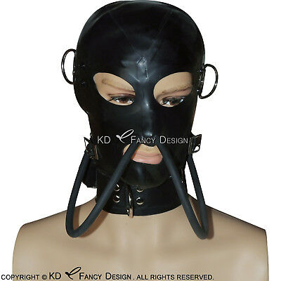 Black Sexy Latex Hood With Zipper At Back Breathing Tube Rubber Mask Plus Size