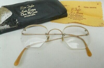 Pair Old Vintage Half Frame Bifocal  Spectacles eye glasses in Original Case
