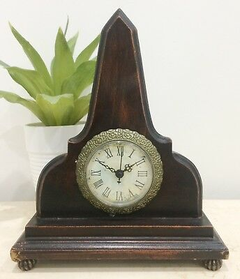 Vintage Look Wooden Quartz Battery Mantel Clock #1428