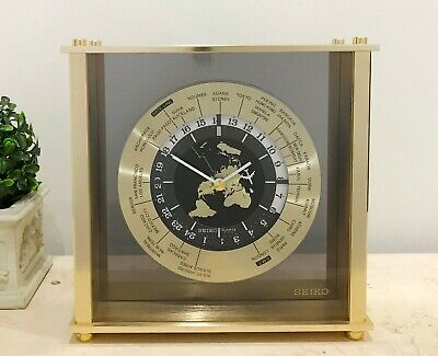 Vintage Brass International World Airline SEIKO Battery Mantel Clock #1402