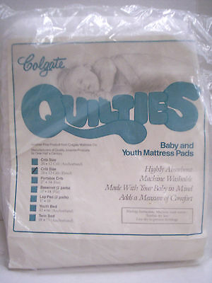 """Baby and Youth Size Mattress Pad, Fitted, By Colegate, 28"""" x 52"""", White, New"""