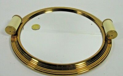 French Antique Art Deco 1930 Cocktail Round Mirror Serving Tray Liquor Modernist
