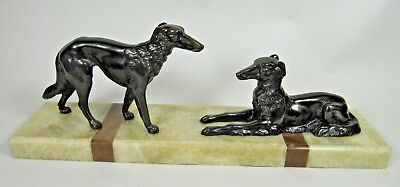 French ART DECO Bronzed Spelter BORZOI Dogs Figure Statue Marble Base Sculpture