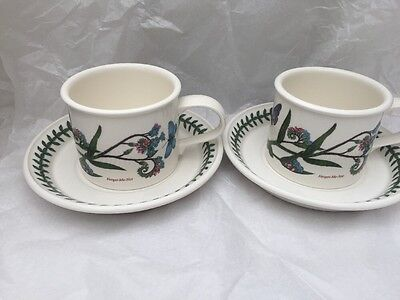 Portmeirion Botanic Garden Breakfast Cups & Saucers x 2 Forget Me Not