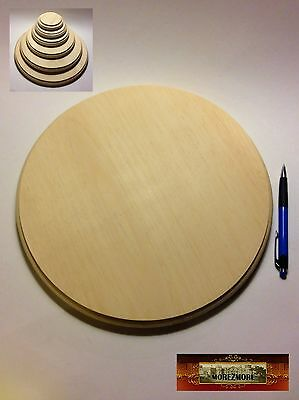 """M01514 MOREZMORE 1 Unfinished 12"""" Round Wood Base Wooden Plaque Stand"""