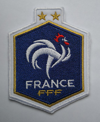 NEW France World Cup Two Star FFF Gallic Rooster Embroidered Iron On Patch Badge
