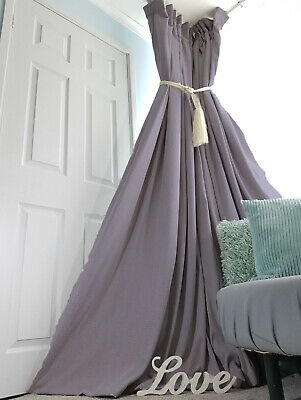 """NEW! Heavy 52"""" Wide 113"""" Long Slate Grey Brushed Linen Cotton Lined Bay Curtains"""