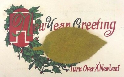 Antique Vintage Holiday New Years Postcard New Leaf Early 1900's Posted