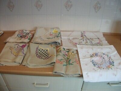 Embroidered Cushion Covers - Flowers And Crinoline Ladies X 7