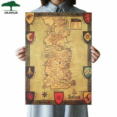 Game of Thrones Westeros Map Retro Kraft Paper Poster Decorative Wall Painting