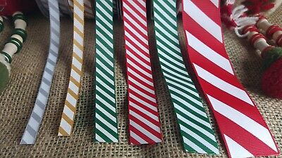 Candy Cane diagonal stripe ribbon red white green gold silver trim scrapbooking