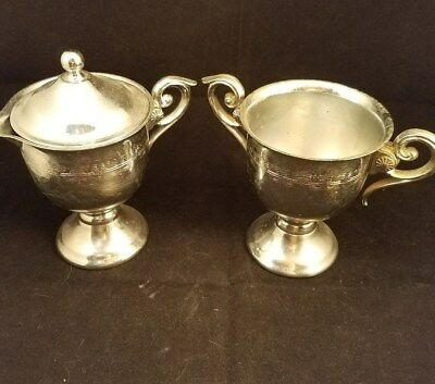 """Collectible Ornate Silver color Metal Stemmed Cream and Sugar 5"""" tall W/Handles"""