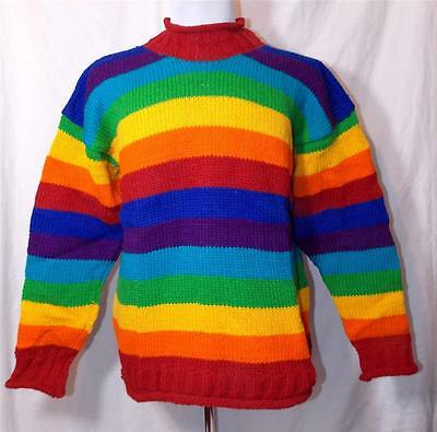 GRINGO NEPALESE RAINBOW SOCKS CHUNKY KNITTED 100/% WOOL MULTI COLOURED ONE SIZE