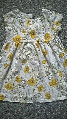 Grey, Yellow, floral, NEXT tunic dress, girls, 1,5-2 years, short sleeve