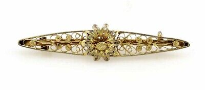 Antique Victorian Gilded Sterling Silver Filigree Wire Flower Bar Pin
