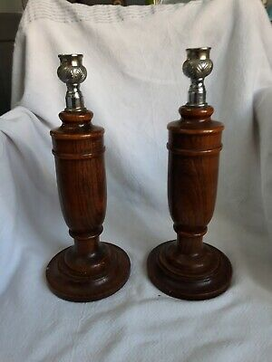 Vintage Retro Wooden Candlesticks. 11.5 inch tall.