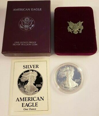 1989-S Proof Silver American Eagle $1 .999 With Box & COA