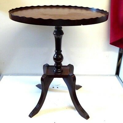 Regency Style Inlaid Mahogany Pedestal Galleried Oval Wine Table