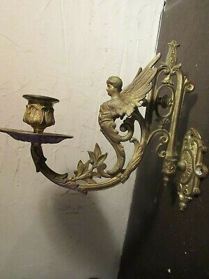 Antique ORNATE French Gilded Bronze PIANO Wall Sconce WINGED WOMAN,LILITH,SIGNED