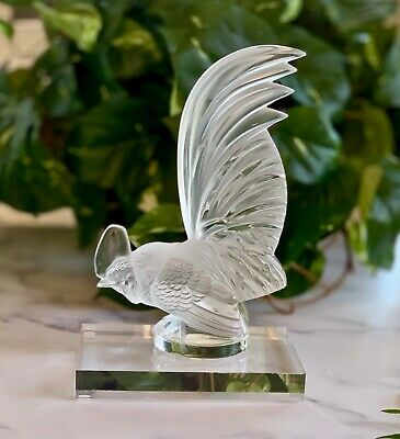 Lalique France Coq Nain Crystal Rooster Mascot Hood Ornament Mint, Signed