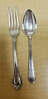 Antique GORHAM Sterling SILVER Child Fork w/ Monogram & non match Spoon Hallmark