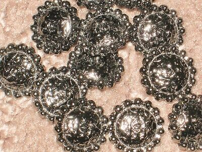 Chanel 12  Dark Silver Metal Cc Logo Buttons 10 Mm/ Tiny Under 1/2''  New Lot 12