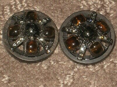 Chanel 2 Cc Logo Front D Silver Metal Glass  Buttons 20 Mm/ Under 1''  Lot 2
