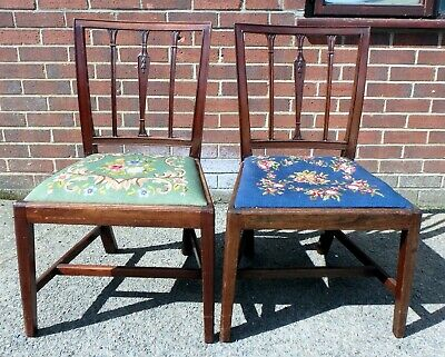 Pair George III antique Sheraton design solid mahognay side hall bedroom chairs