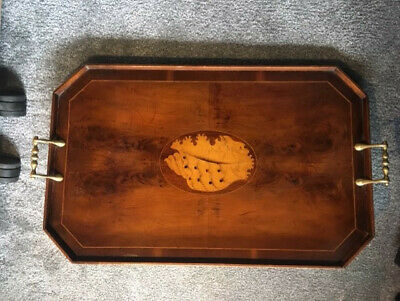 Victorian/Early 1900's Brass handles/Marquetry Tray - Stunning