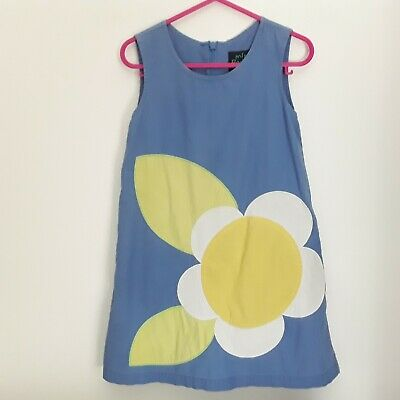 MINI BODEN Blue Daisy Flower Sleeveless Dress Size Age 2-3 Years