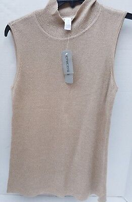 8181487f33dea Chico s Women Gold Blouse Shirt Top Knit Shimmer Party Elegant Sleevless  Size 1