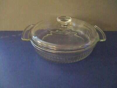 Vtg Anchor Hocking Fire King #430 Covered Casserole Dish 1 QT