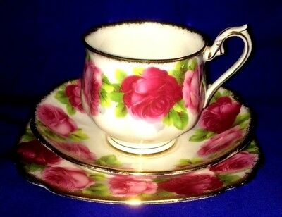 Royal Albert Old English Rose  Bread Plate & Tea Cup and Saucer Set Black Stamp
