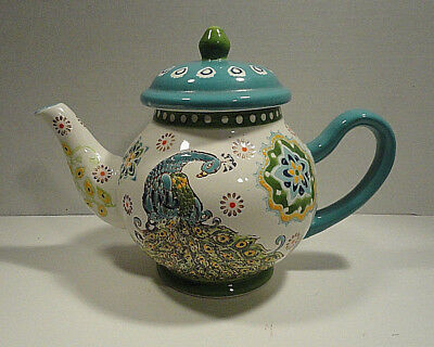 Dutch Wax Peacock Handpainted Teapot Coastline Imports