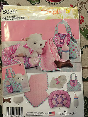 Simplicity Pattern S0351 Ruby Jean's Closet Stuffed Puppy, Carrier, Accessories