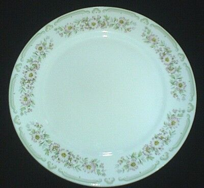 DUDSON White/Pink Daisy + Pale Green Pattern 10 inch Plate x 1 ( 2 available)