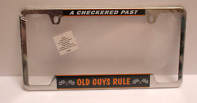 NEW Sealed Metal License Plate Holder A CHECKERED PAST … OLD GUYS RULE