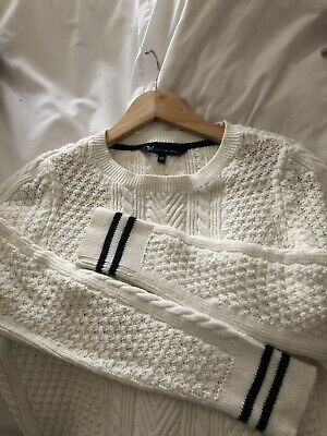 25222111a20 Crew Clothing Company cream cable knit jumper size 10 Navy Striped Cuff