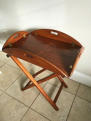 Vintage Folding Butler's Tray on Stand on X Frame