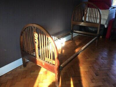 Antique Arts And crafts Style Single Oak Bed