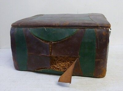 Vintage/Antique Leather Clad Sewing Box/Foot Stool Rare