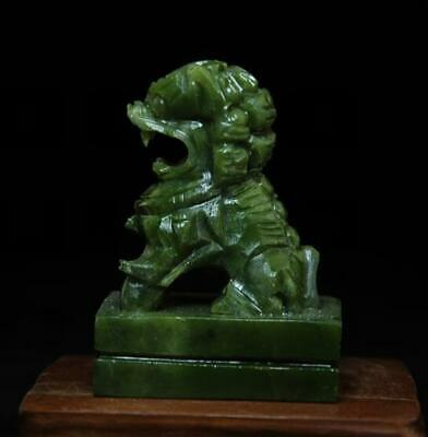 chinese old hand-made south natural jade lion sculpture statue
