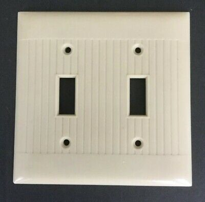 1 Vintage Sierra Double Gang 2-Switch Plate Ivory Bakelite ? Ribbed D-2 Made USA