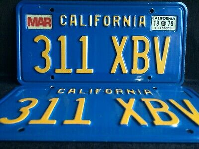 California License Plates 311 XBV 1979 Pair Year Of Manufacture DMV Clear Set