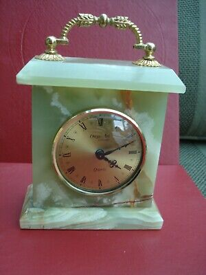 Vintage Green Onyx Mantle Clock - Onyx-Art London