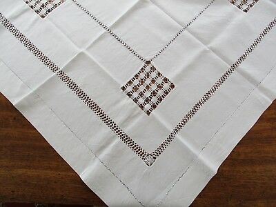 Vintage Hand Embroidered & Drawn Thread Linen Tablecloth