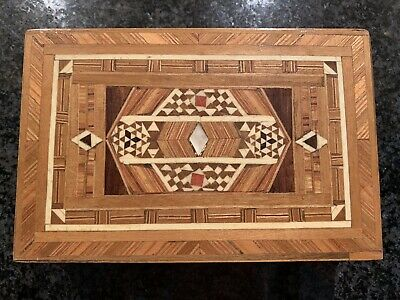 Antique Wooden Marquetry And Micro Mosaic Trinket Jewellery Box 2 Of 2 Available