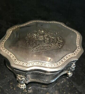 Vintage Silver Plated Monarchy Royal Coat Arms Jewellery Box Dieu Et Mon Droit